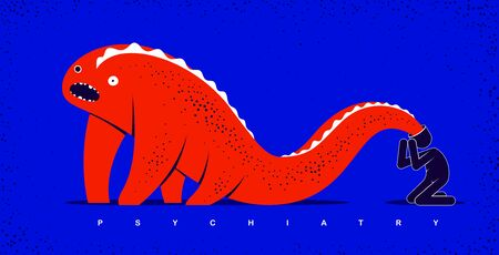 Psychical problems such as phobia psychosis schizophrenia hallucinations vector concept illustration in flat trendy style, psychiatry and psychology allegory, man with monster from his head.