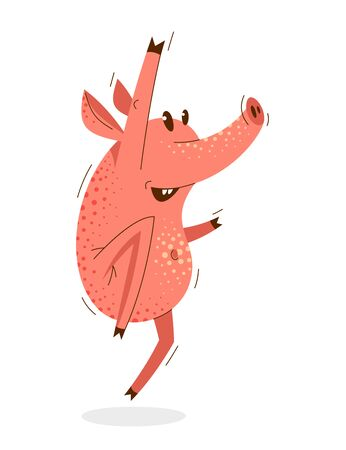 Funny cartoon pig jumping and saying Yes humorous vector illustration, animal character swine shows success and victory, happy winner. 向量圖像