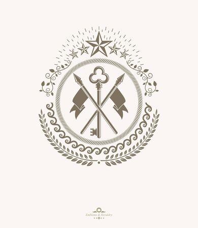 Old style heraldry, heraldic emblem, vector illustration. Banque d'images - 144170389