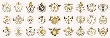 Classic style emblems big set, ancient heraldic symbols awards and labels collection, classical heraldry design elements, family or business emblems. Banque d'images - 144170391