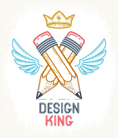 Two crossed pencils with wings and crown, vector simple trendy  icon for designer or studio, creative king, royal design, linear style.