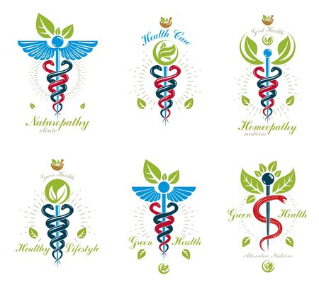 Collection of Caduceus logotypes composed with poisonous snakes and bird wings, healthcare conceptual vector illustrations. Alternative medicine theme. Illusztráció