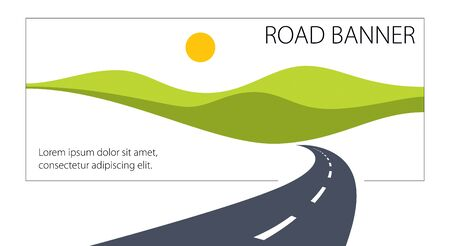 Country road curved highway vector perfect design illustration. The way to nature, hills and fields camping and travel theme. Can be used as a road banner or billboard with copy space for text. 向量圖像