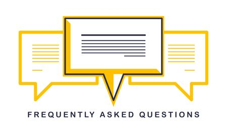 Technical support and frequently asked questions FAQ vector design element isolated on white, speech bubbles concept.