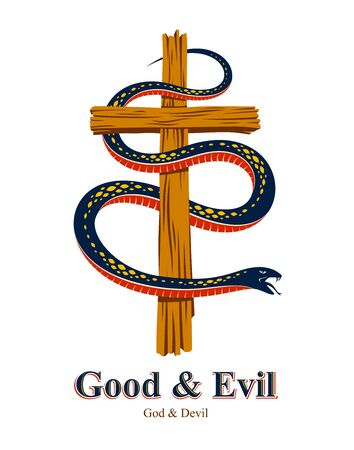 Snake wraps around Christian cross, the struggle between good and evil, saint and sinner, love and hate, life and death symbolic vector illustration Illusztráció