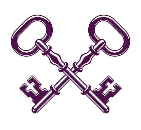 Crossed keys, protected secret, electronic data protection, keys to heaven, hotel label, vintage antique turnkeys emblem. Banque d'images - 144170411