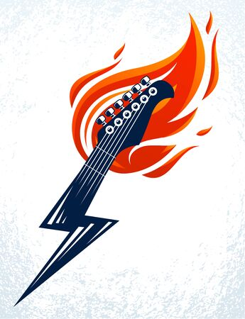 Electric guitar headstock on fire in a shape of lightning, hot rock music guitar in flames and bolt, Hard Rock or Rock and Roll concert or festival label, night club live show Ilustración de vector
