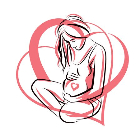Vector graceful composition of pregnant woman body outline surrounded by heart shape frame. Mother Day.