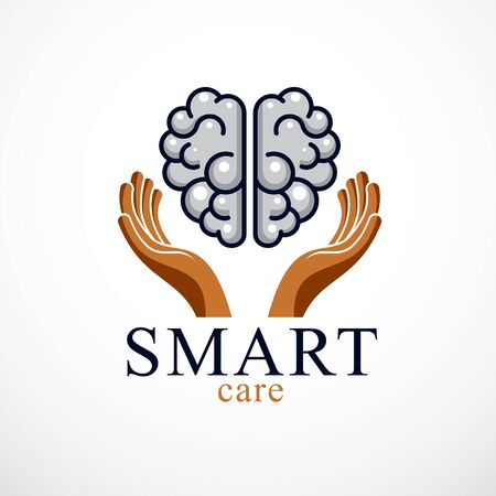 Smart Care concept icon design of human anatomical brain with careful tender and defending hands.