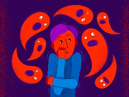 Phobia of ghosts and spirits paranormal vector illustration, boy scared in panic attack surrounded with imaginary ghosts flying around him, psychology and psychiatry.