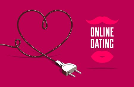 Dating site advertising poster or banner vector concept illustration with plug, internet love, online dating. Vettoriali