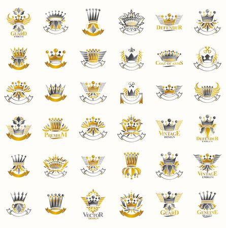 Crowns vintage heraldic emblems vector big set, antique heraldry symbolic badges and awards collection with coronets, classic style design elements, family emblems.