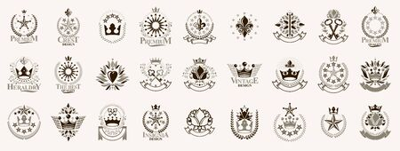 Heraldic Coat of Arms with crowns and stars vector big set, vintage antique heraldic badges and awards collection, symbols in classic style design elements, family or business logos.