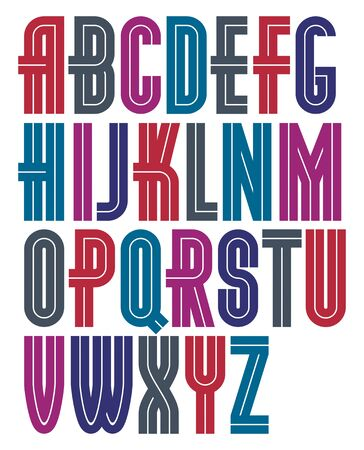 Set of vector bold capital alphabet letters made with white lines, can be used as business logo design elements