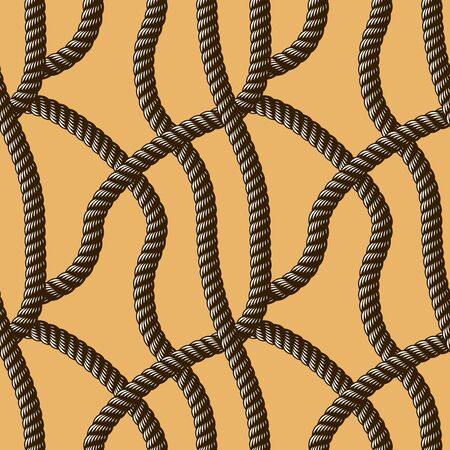 Rope seamless pattern, trendy vector wallpaper background. Usable for fabric, wallpaper, wrapping, web and print. Vettoriali