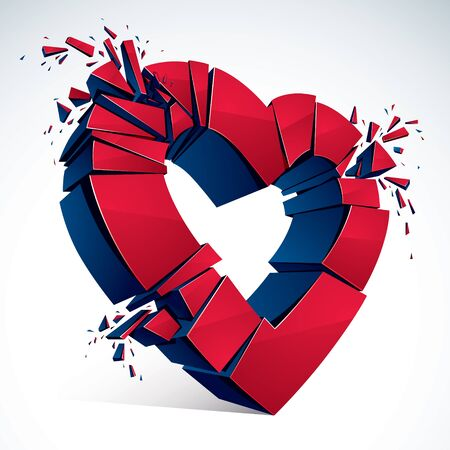 Broken Heart concept breakup, 3D realistic vector illustration of heart symbol exploding to pieces. Creative idea of breaking apart love, break up. Illustration