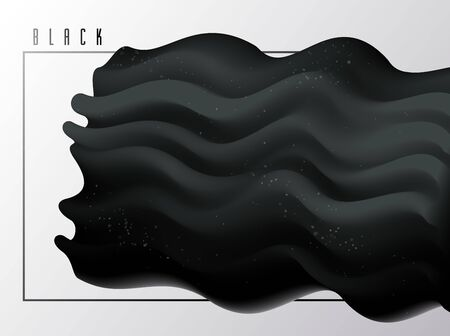 Black gradient fluid vector abstract shape, 3D dark matter abstract background in modern trendy style, dynamic design element in motion.