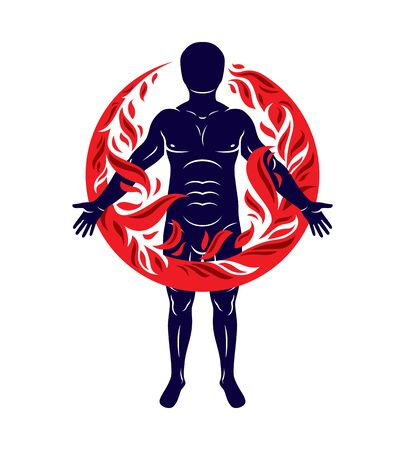 Vector illustration of athletic man, human and nature harmony, fire man covered with a fireball. Illustration