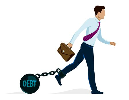 Businessman with weight metal ball on shackles symbolizes debt or problems vector illustration isolated on white, handsome man trying to walk forward but troubles stop him.