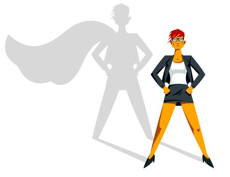 Big boss business woman stands confident serious like superhero vector illustration, girl in business super hero power and strength, female manager to success.