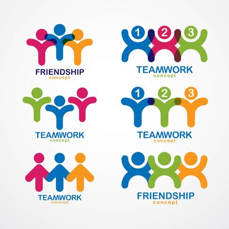 Teamwork businessman unity and cooperation concepts created with simple geometric elements as a people crews. Vector icons or logos set. Friendship dream team, united crew colorful designs.