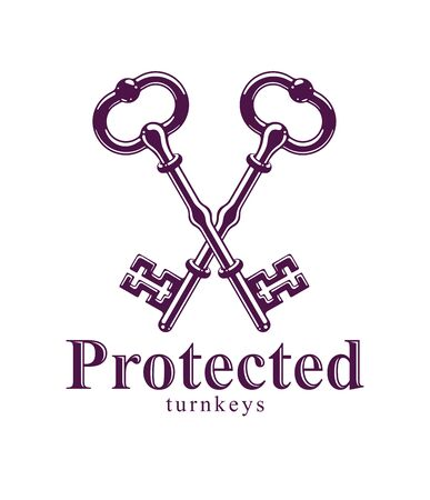 Crossed keys, protected secret, electronic data protection, keys to heaven, hotel label, vintage antique turnkeys vector logo or emblem.