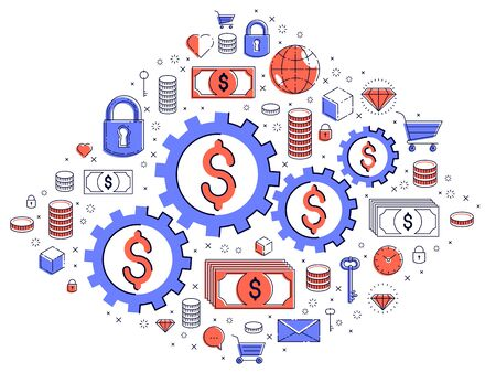 Economy system and business concept, gears and cogs mechanism with dollar signs and icon set, allegory design of systematic business and financial activity, vector illustration. Vettoriali