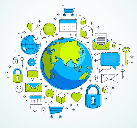 Global communication concept, planet earth with different icons set, internet activity, big data, global network connection, vector, elements can be used separately.