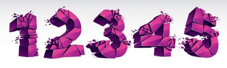 3D realistic pink numbers set 1 2 3 4 5 vector illustration, breaking to pieces digits over white symbols collection.