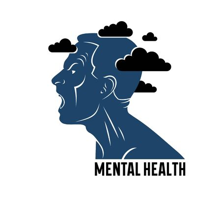 Anger, aggression and psychosis mental health and high anxiety vector conceptual illustration or logo visualized by man face profile and dark clouds over his head.