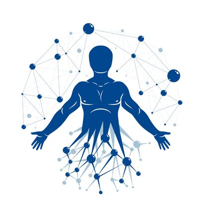 Vector illustration of strong male made using wireframe mesh and scientific atom connections. Molecular engineering concept.