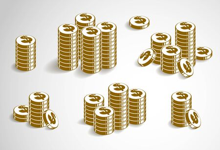 Coin stack cash money or casino chips still-life, vector icon set, illustration or logo collection, revenue or taxes concept, pile of cents.