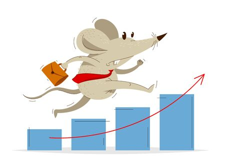 Funny cartoon mouse with tie and case like a businessman runs fast over growth chart vector illustration, hurry late concept, humorous business financial success cartoon.