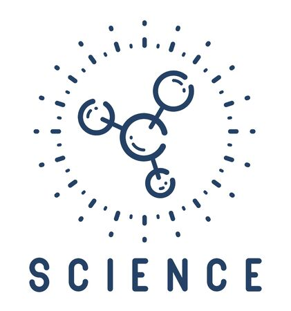Molecule vector linear icon, science chemistry and physics line art symbol. Illusztráció