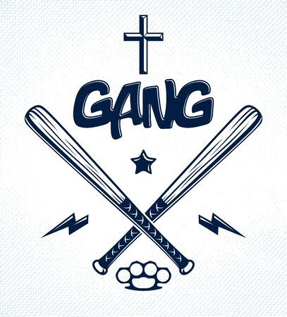 Baseball bats crossed vector criminal gang logo or sign, gangster style theme. Çizim