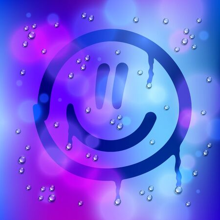 Cute smiley drawn on a window over blurred background and water rain drops, vector realistic illustration, happy when its rainy weather beautiful art. Archivio Fotografico - 145509150
