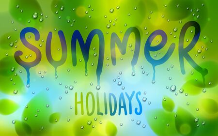 Summer word drawn on a window, fresh green leaves and water rain drops or condensate macro, vector 3d realistic transparent illustration, summertime nature beautiful art.