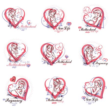 Set of pregnant female beautiful body outlines, mother-to-be vector drawn illustration. Pregnancy assistance center promotion