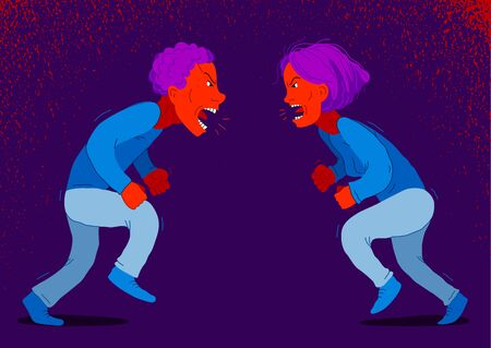 Abusive relations vector concept, man and woman is arguing aggressively with hate, quarrel between husband and wife, conflict scream and shout psychological abuse.