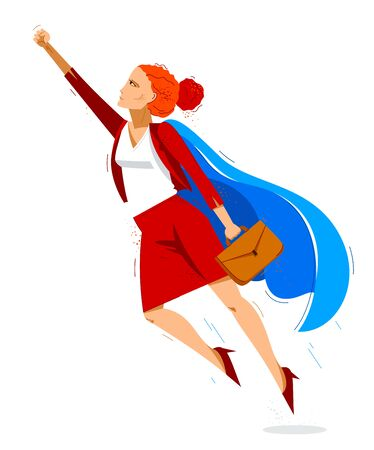 Super-héros de femme d'affaires volant vers le haut d'une illustration vectorielle puissante, femme de héros courageuse et puissante dans la carrière de chef d'entreprise vers le succès, entrepreneur ou PDG.