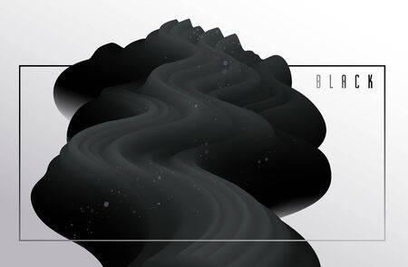 Abstract dark matter fluid vector background, dimensional gradient shape element for design, black flowing 3D wave, color dynamic motion layout. Ilustrace