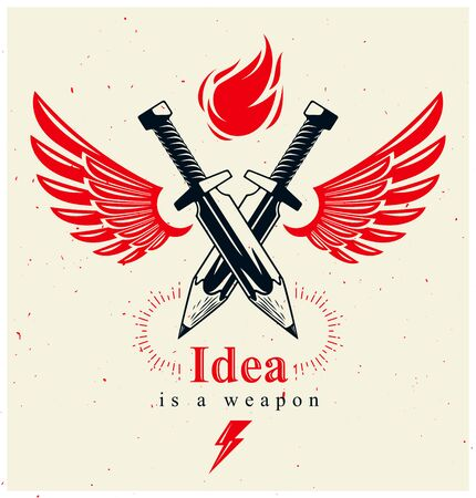Idea is a weapon concept, weapon of a designer or artist allegory shown as two crossed swords with pencils instead of blades and wings, creative power, vector logo or icon.