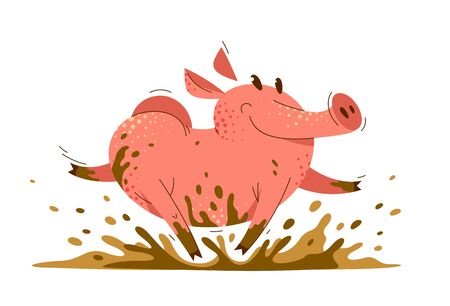 Funny cartoon pig runs in dirt vector illustration, activity happy enjoying animal swine character drawing.