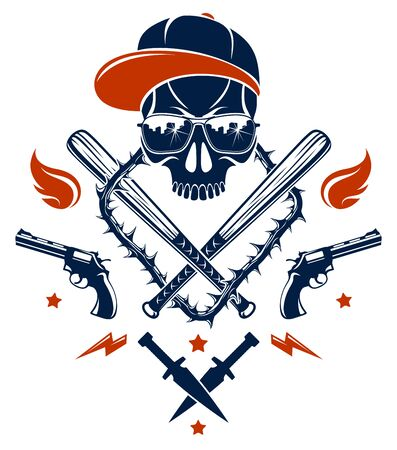 Gangster emblem logo or tattoo with aggressive skull baseball bats and other weapons and design elements, vector, criminal ghetto vintage style, gangster anarchy or mafia theme. Çizim