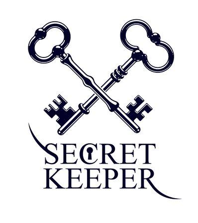 Two crossed vintage turnkeys isolated on white, vector logo or sign symbolized kept secret, personal data protection, antivirus internet security.