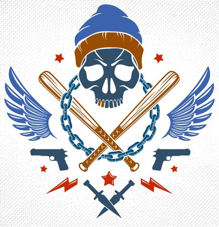 Gang brutal criminal emblem or logo with aggressive skull baseball bats and other weapons and design elements, vector anarchy crime terror retro style, ghetto revolutionary. Çizim