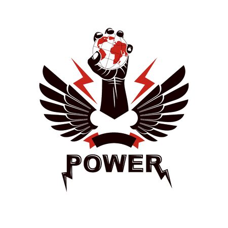 Raised arm holds Earth globe, vector logo. Power and authority conceptual illustration. 스톡 콘텐츠 - 146172774