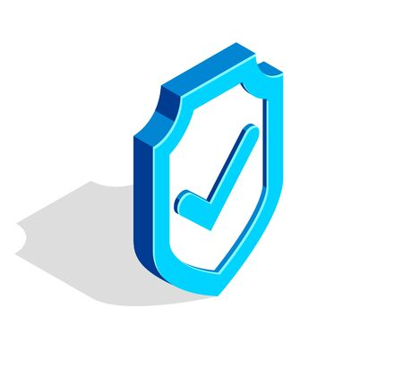 shield with check mark tick vector 3d isometric vector illustration isolated on white, data protection, cyber security, internet antivirus concept. Ilustração Vetorial