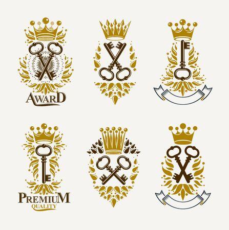 Vintage keys vector logos or emblems, heraldic design elements big set, classic style heraldry turnkeys symbols, antique secrets and locks.