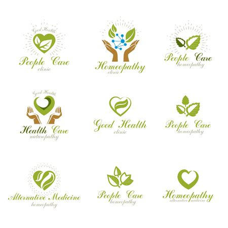 Homeopathy creative symbols collection. Phytotherapy conceptual vector emblems created using green leaves, heart shapes, religious crosses and caring hands.